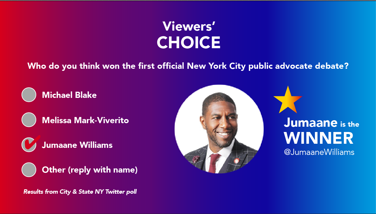 Results of a twitter poll on the second new york city public advocate debate
