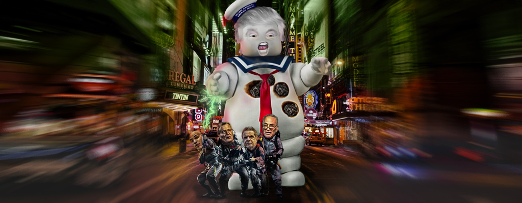 Donald Trump as the Stay Puft Marshmallow Man and Carl Heastie, Andrew Cuomo, Bill de Blasio and Charles Schumer as the Ghostbusters