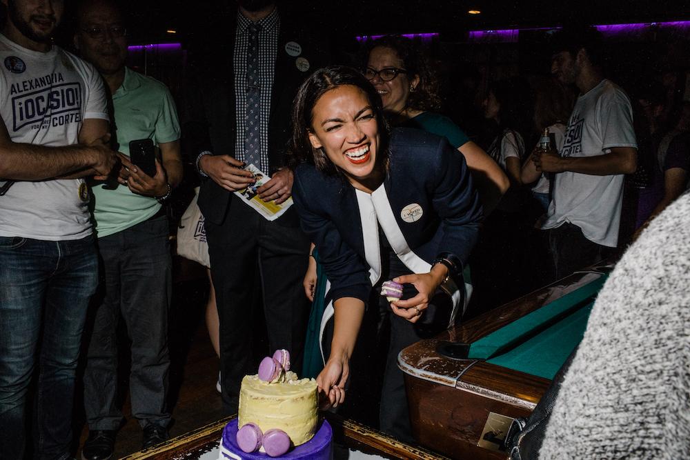 Alexandria Ocasio-Cortez celebrating her Democratic primary victory last month.