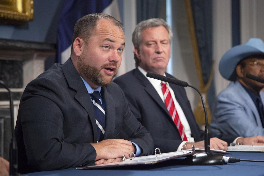 New York City Council Speaker Corey Johnson with New York City Mayor Bill de Blasio