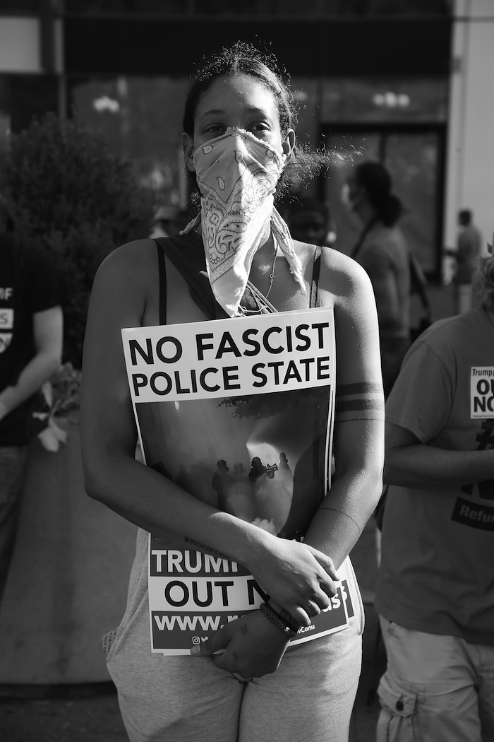 A protester in New York City this summer.