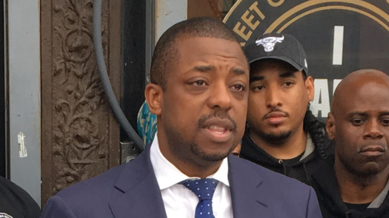 New York state Sen. Brian Benjamin holds a press conference regarding the closure of Rikers Island during his 2017 campaign.