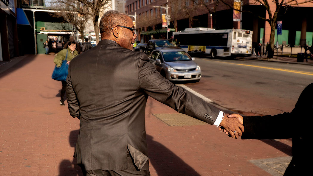 Rep. Gregory Meeks makes his way down a New York City street.