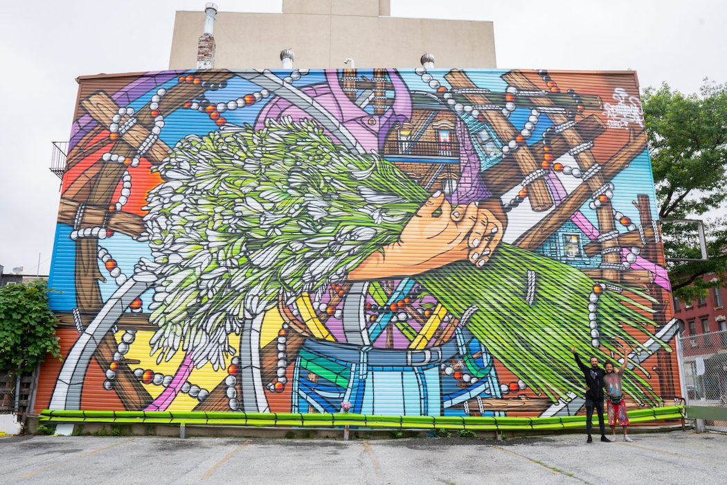 "The Grand Street BID added murals in the district, including ""Olor a Azucenas el Perfum del Barrio"" by Don Rimx."