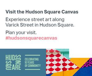 Visit the Hudson Square Canvas. Experience street art along Varick Street in Hudson Square. Plan your visit #hudsonsquarecanvas