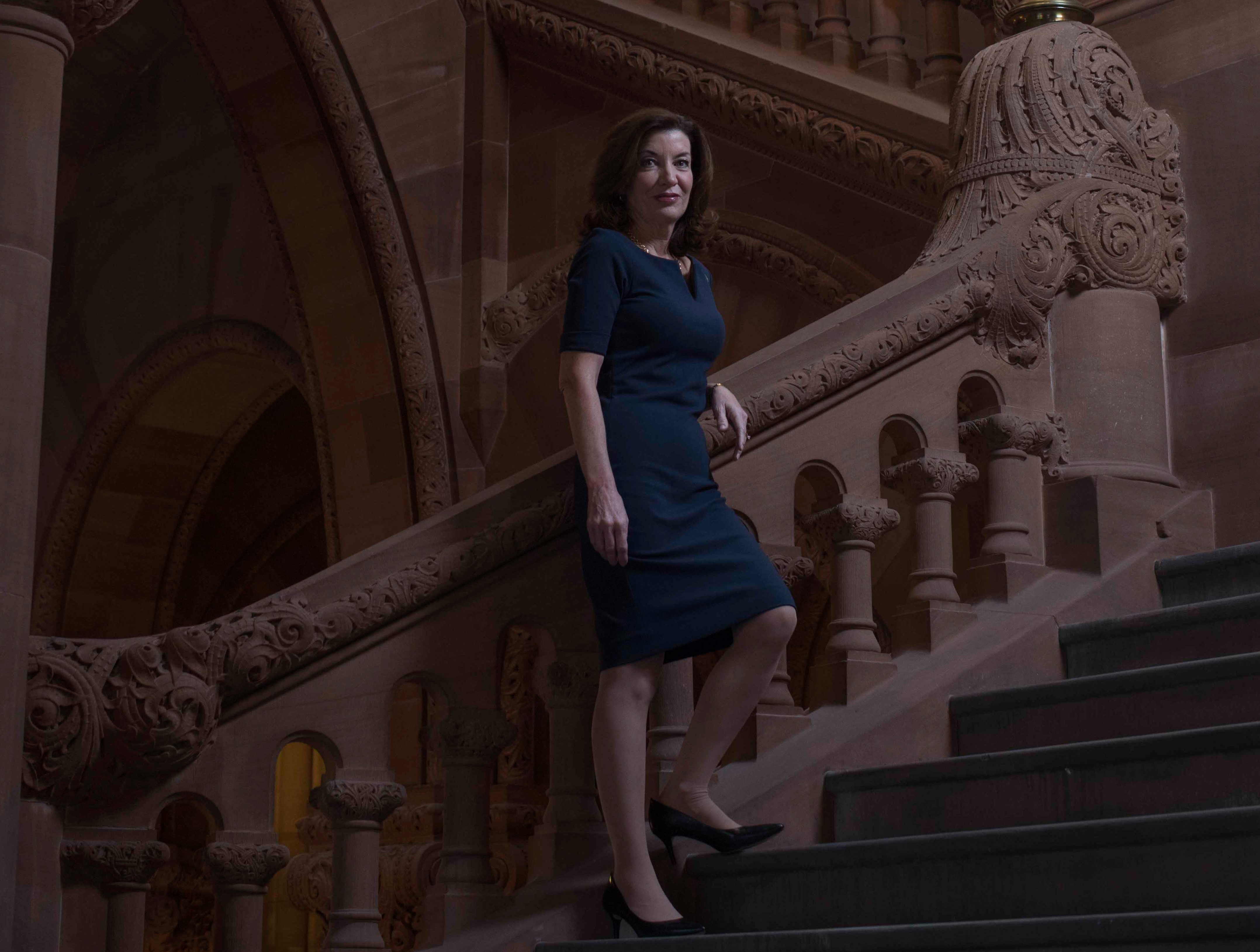Lt. Gov. Kathy Hochul on the Million Dollar Staircase at the state Capitol in Albany