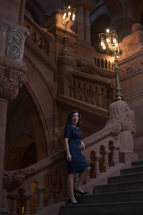 Lt. Gov. Kathy Hochul on the Million Dollar Staircase in the state Capitol on Albany