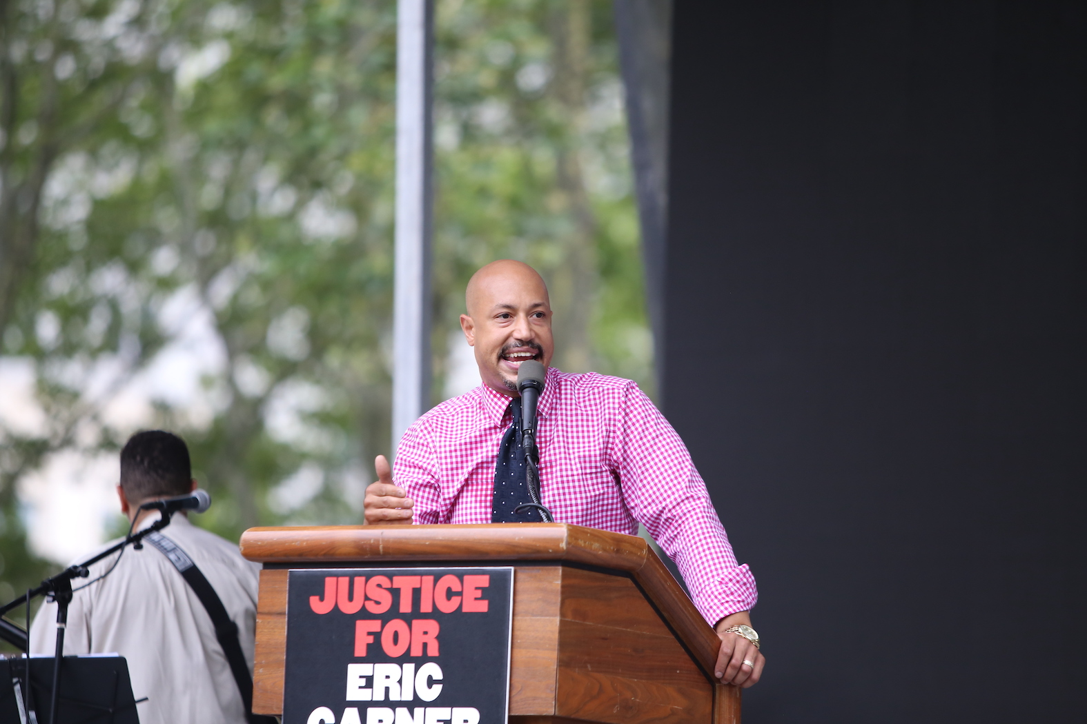 Arc of Justice founder Kirsten John Foy at a rally marking the anniversary of Eric Garner's death in 2015.