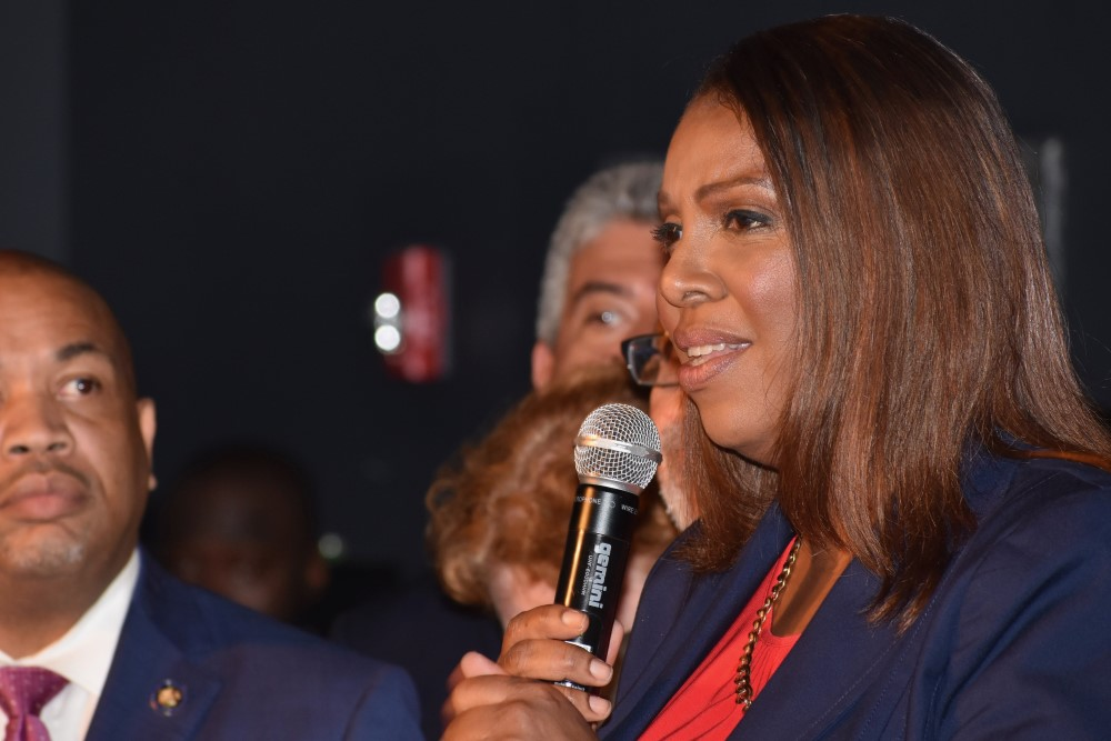 Letitia James gives her acceptance speech after winning the Democratic primary for attorney general.