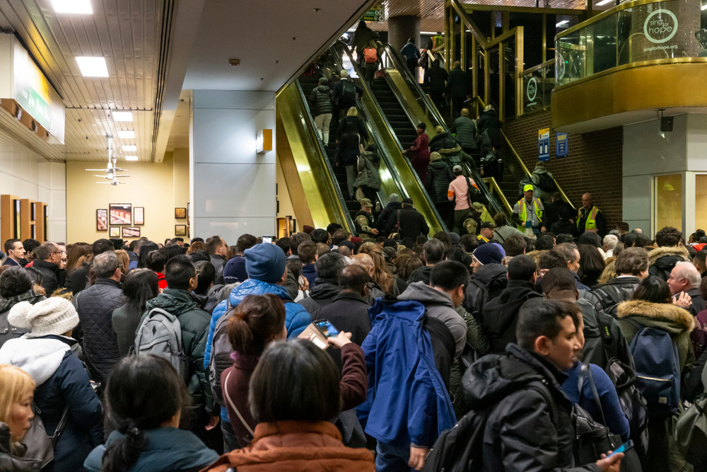 Heavy snow falls in New York City disrupted evening rush hour commute at Port Authority Bus Terminal.