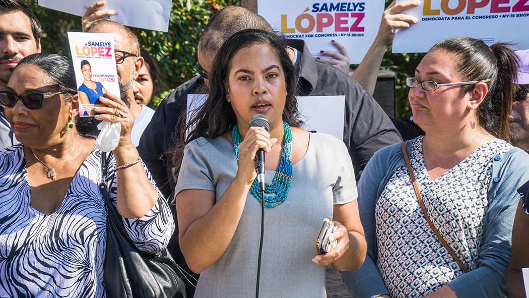 Samelys Lopez announces her campaign for Congress in the Bronx.