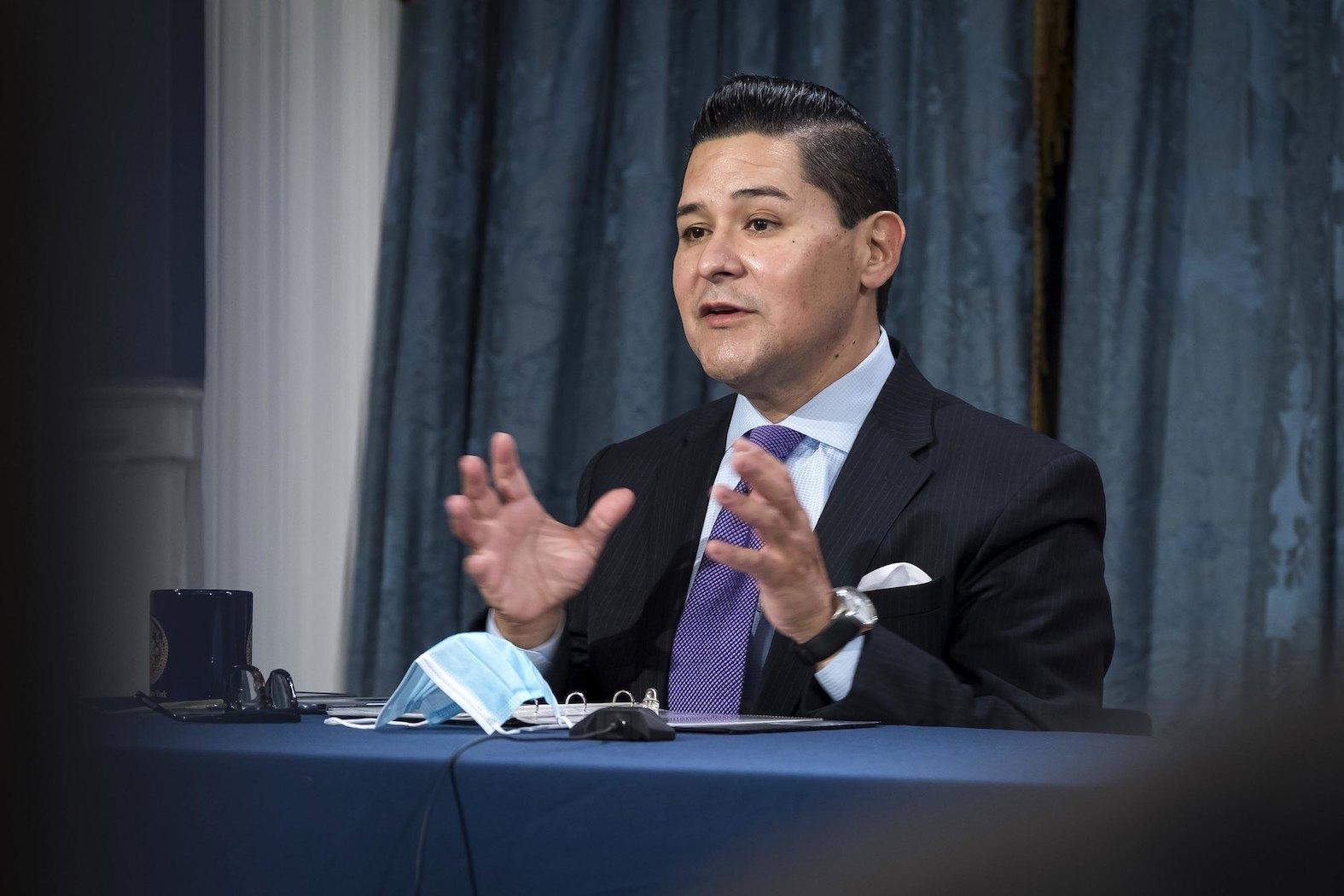 Schools Chancellor Richard Carranza at De Blasio's media availability on November 18th.