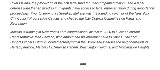Screenshot of Melissa Mark-Viverito's campaign email.