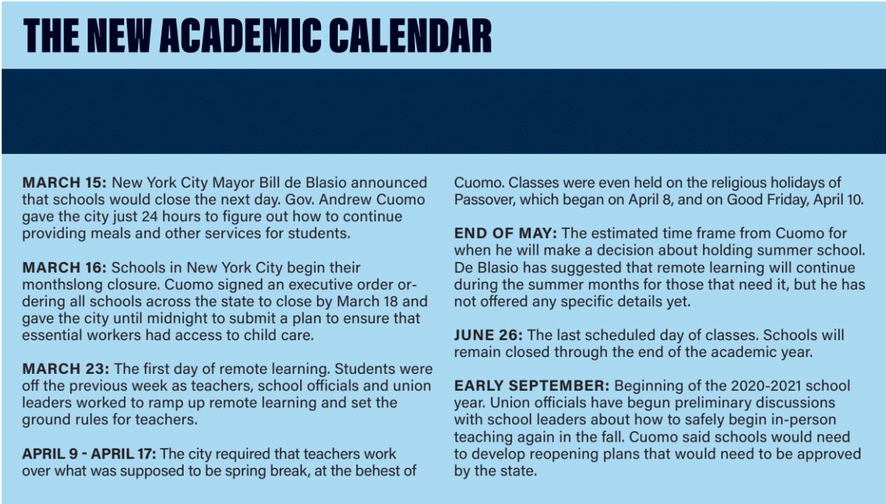 The new academic calendar