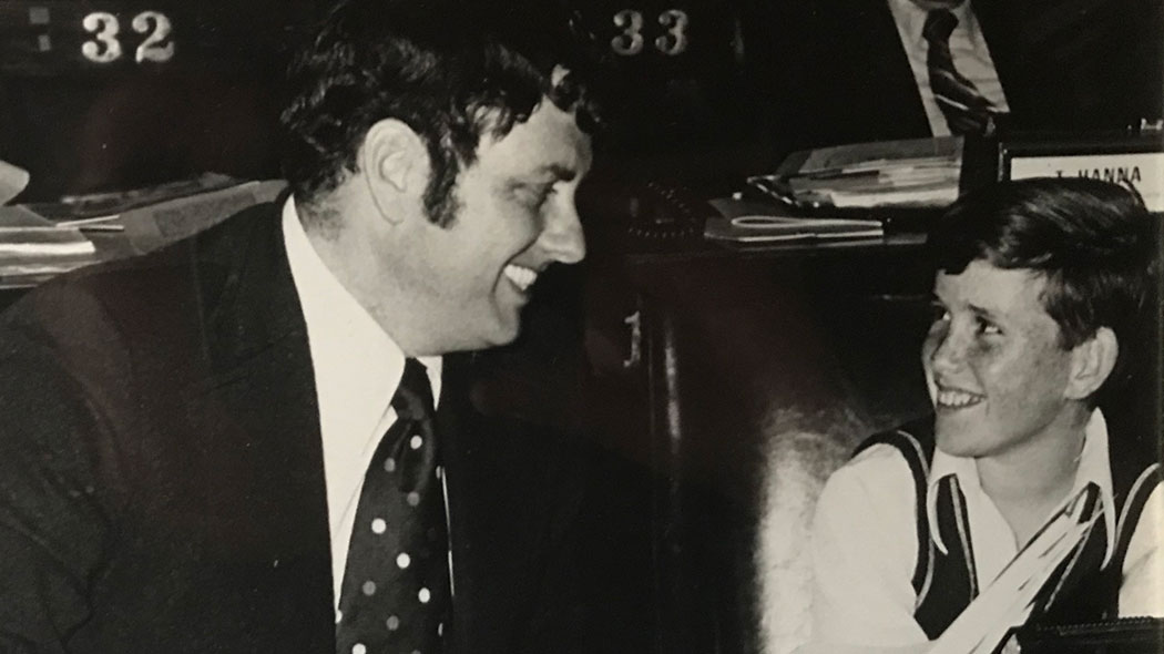 Flanagan as a child with his father Assemblyman John Flanagan in the state Capitol.