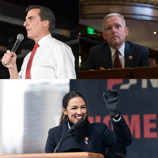 Sen. Michael Gianaris, New York City Councilman Jimmy Van Bramer, and Rep. Alexandria Ocasio-Cortez.