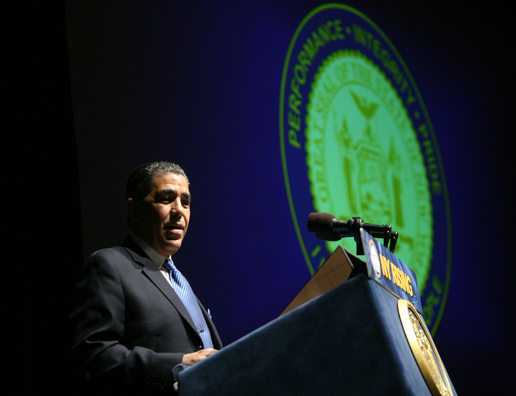 Rep. Adriano Espaillat speaks during New York Governor Andrew Cuomo's State of the State address in 2013