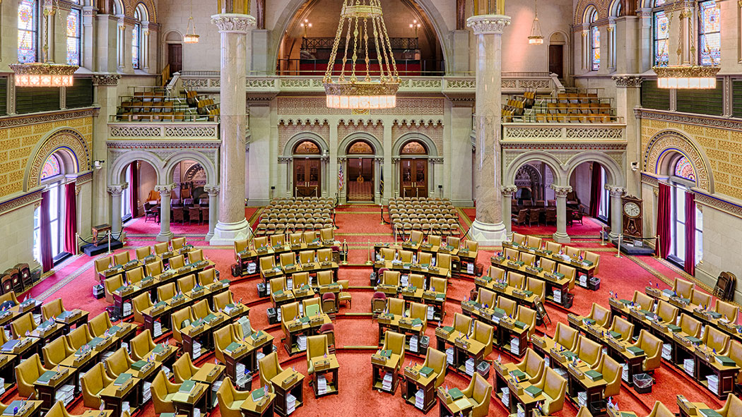 Assembly chamber in the New York State Capitol building in Albany, New York.