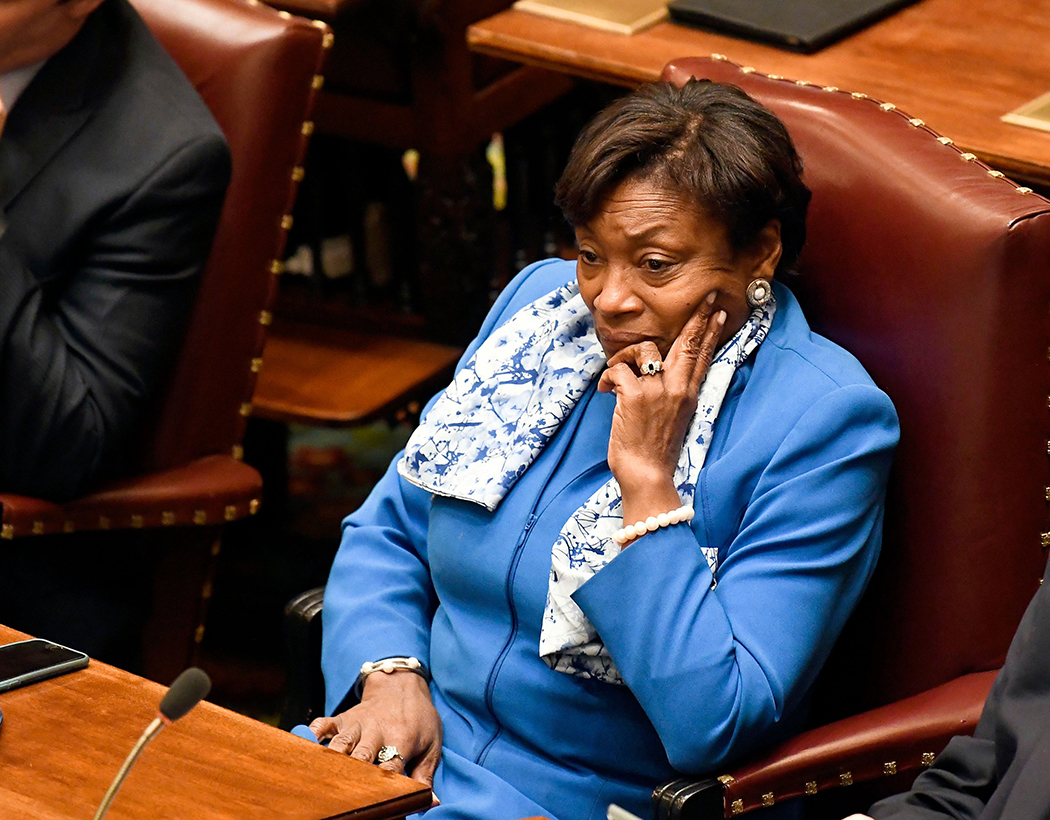 Andrea Stewart-Cousins sitting in the Capitol.