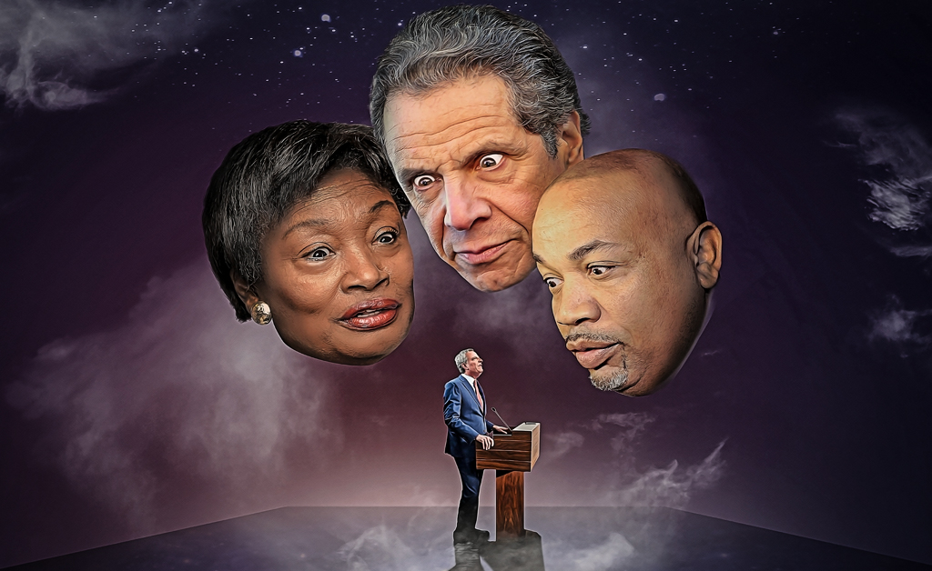 An illustration of Andrew Stewart-Cousins, Andrew Cuomo and Carl Heastie looking down on Bill de Blasio