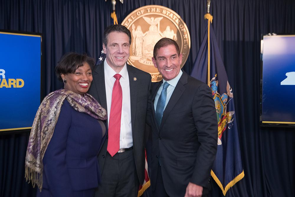 State Sen. Democratic Leader Andrea Stewart-Cousins, Gov. Andrew Cuomo and state Sen. Jeff Klein