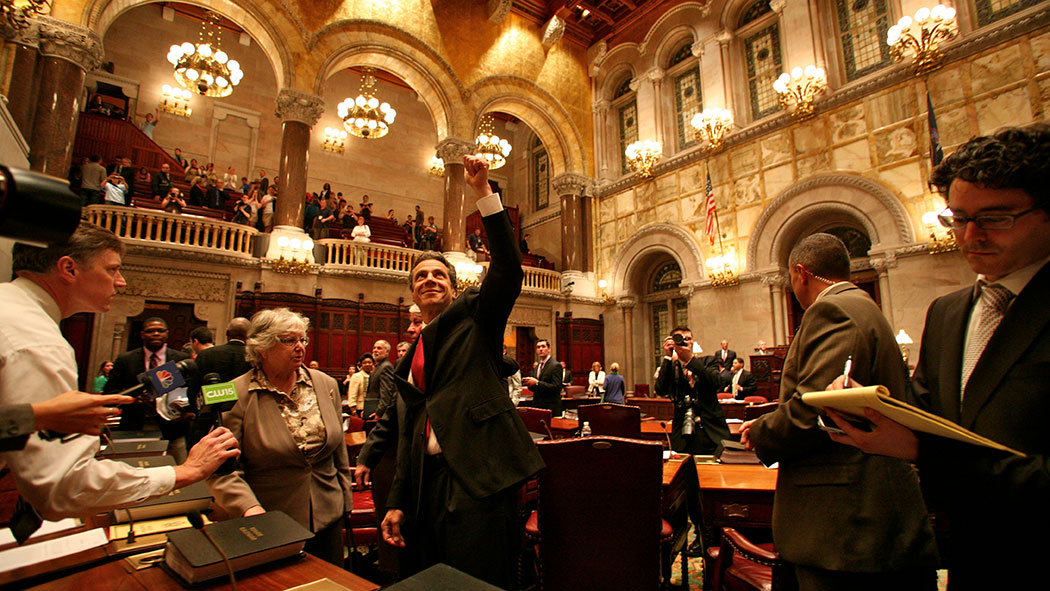 Gov. Andrew Cuomo announces the passage of the historic marriage equality act on the Senate floor following the vote.