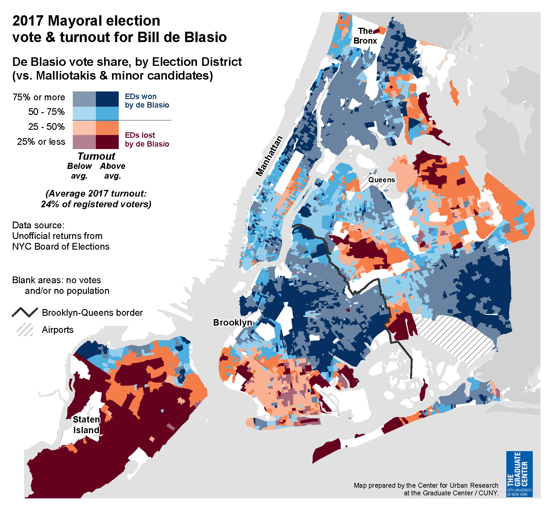 NYC 2017 general election voter turnout
