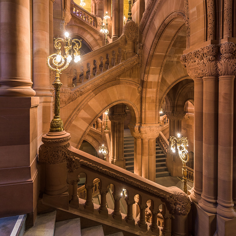 The Great Western Staircase of the New York State Capitol Building.