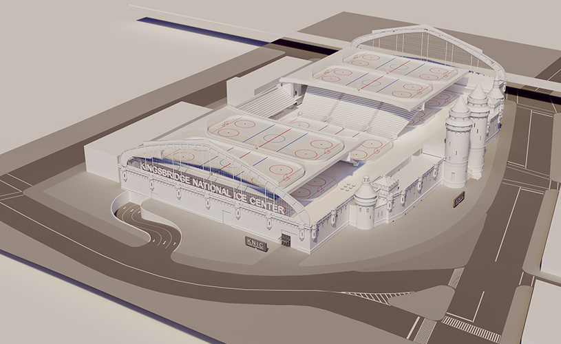 A rendering of what the Kingsbridge Armory Ice Center will look like.