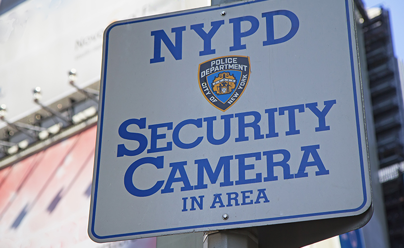 NYPD security camera sign
