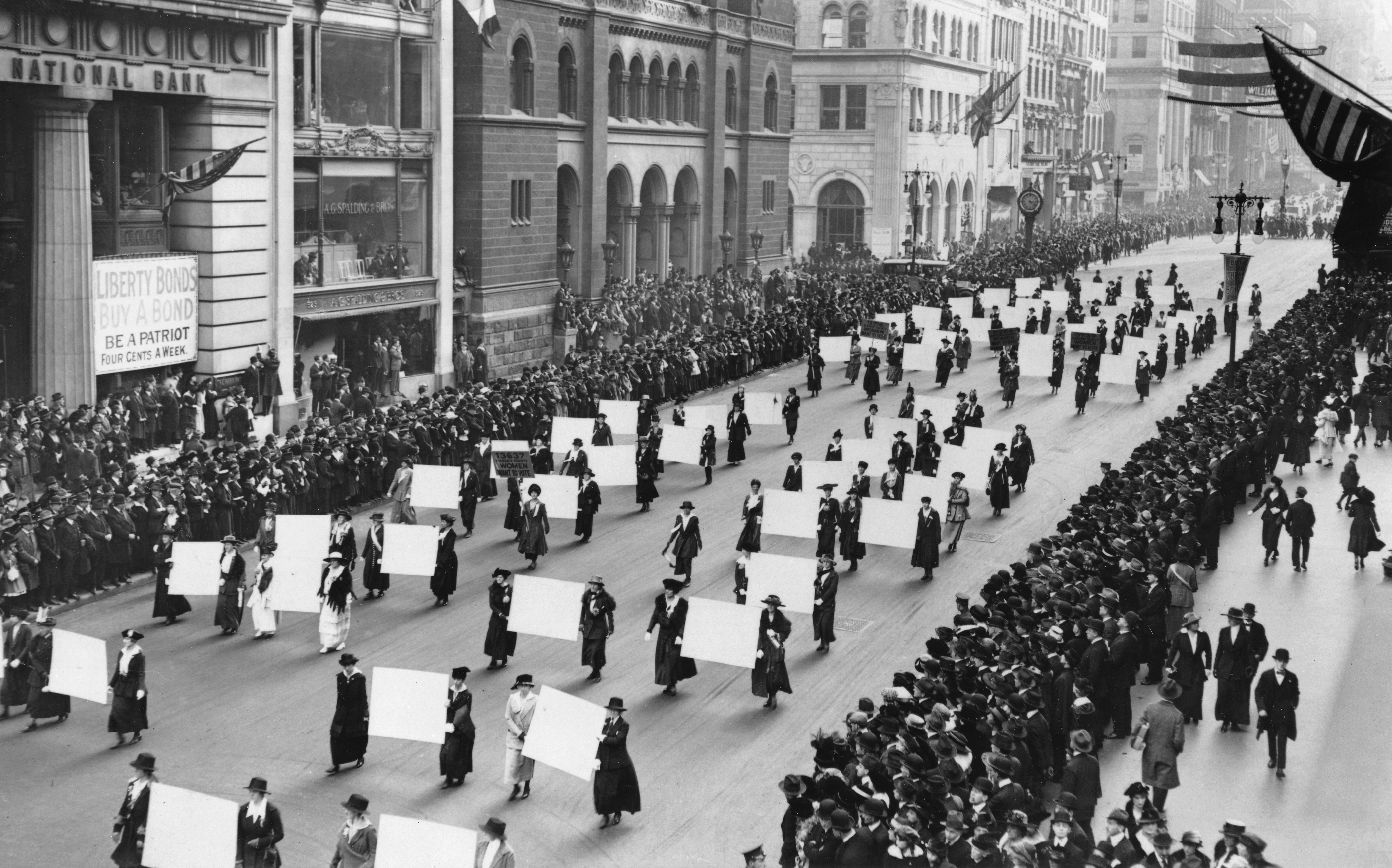 Suffragists march down Fifth Avenue, 1917 (The New York Times/Redux)