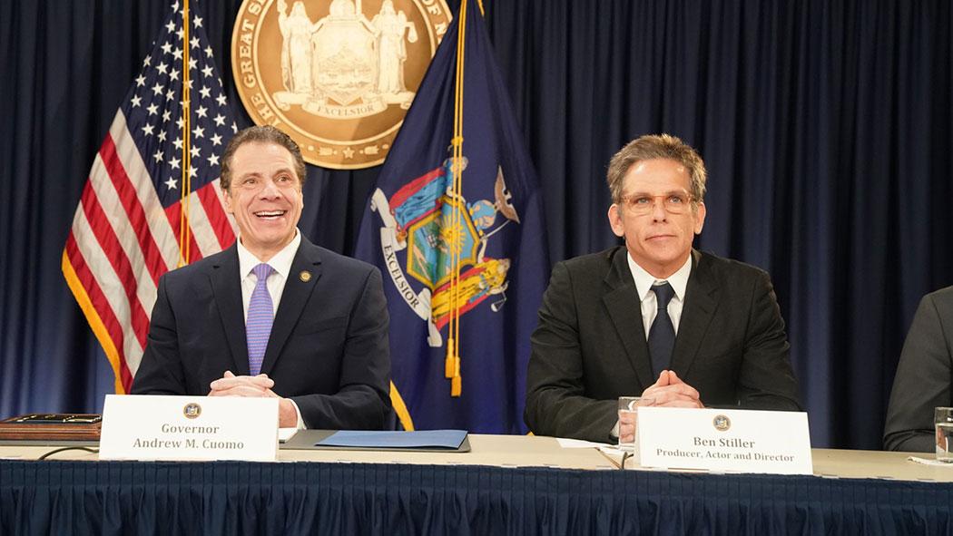 Ben Stiller was present as Cuomo signed voter reform legislation in January.