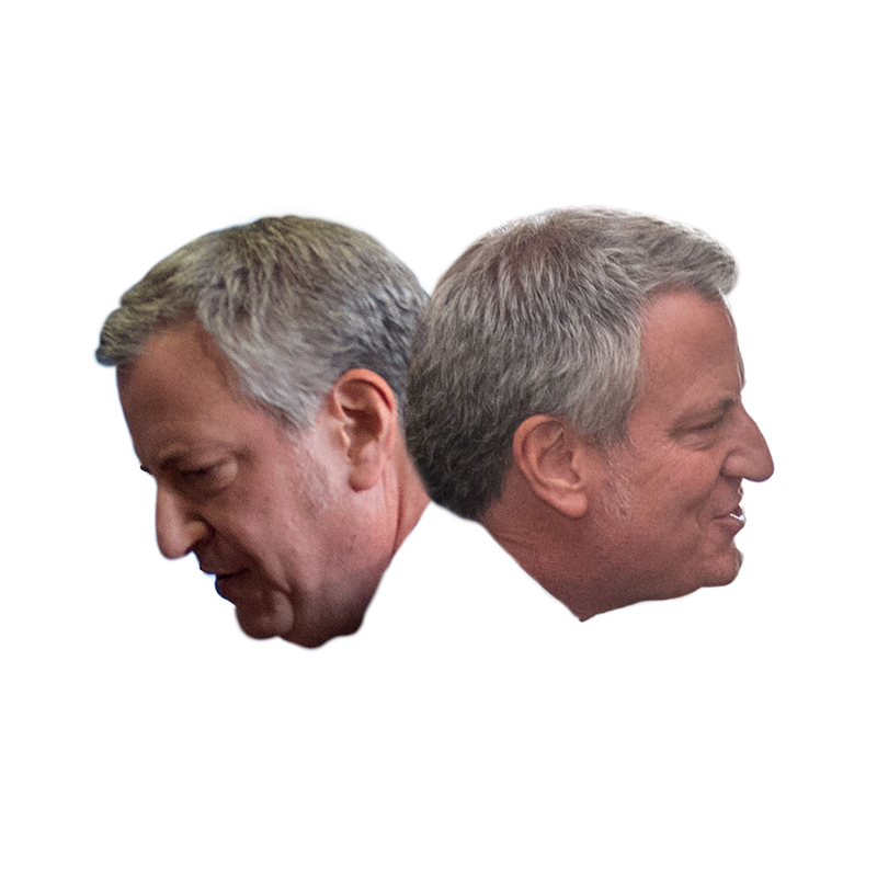 Bill de Blasio facing in two different directions
