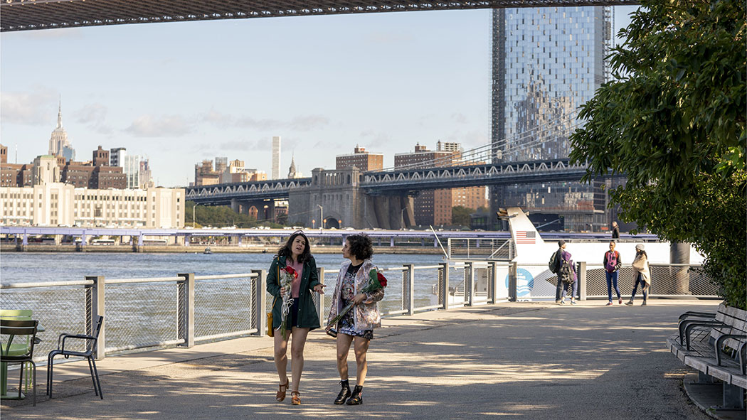 """A still from the series """"Broad City,"""" which was filmed in New York."""