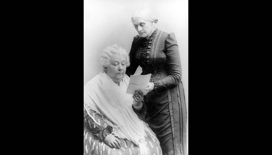 Elizabeth Cady Stanton [sitting] and Susan B Anthony.