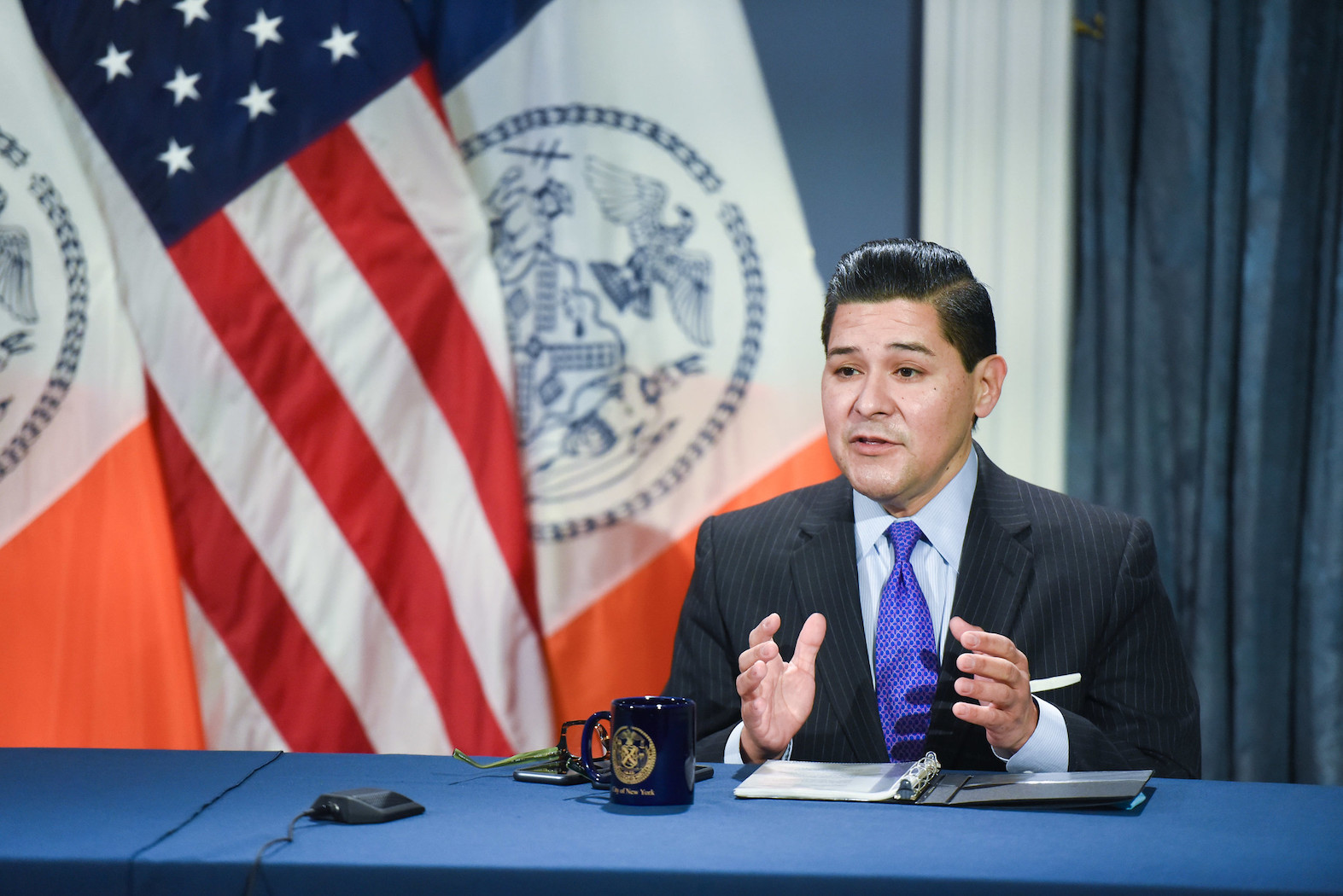 New York City schools Chancellor Richard Carranza at a media availability on December 21.