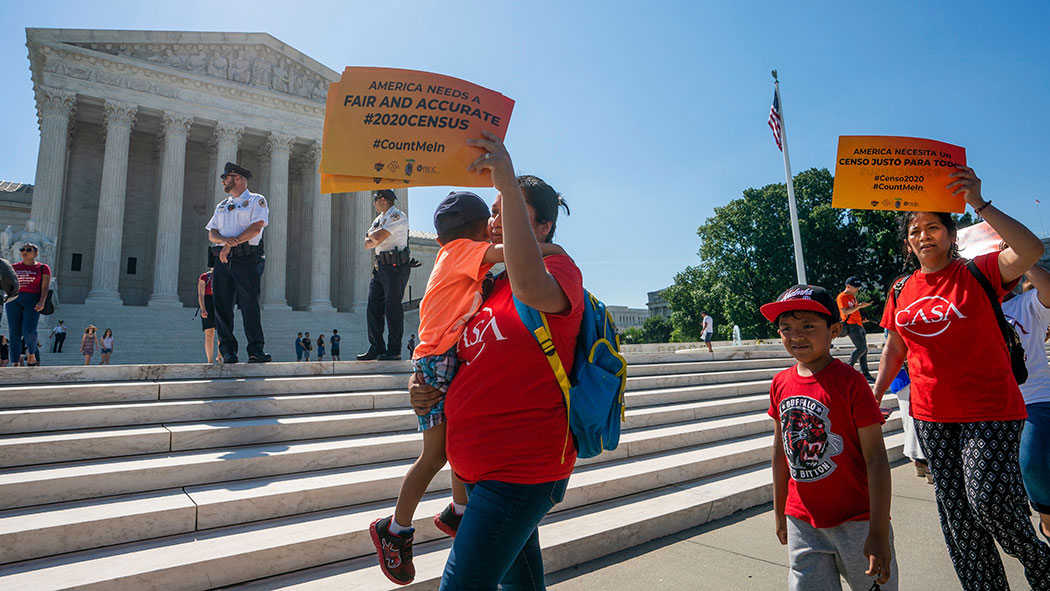 Demonstrators gathered at the Supreme Court as justices finish the term with key decisions on gerrymandering and a census case involving an attempt by the Trump administration to ask everyone about their citizenship status in the 2020 census, on Capitol H