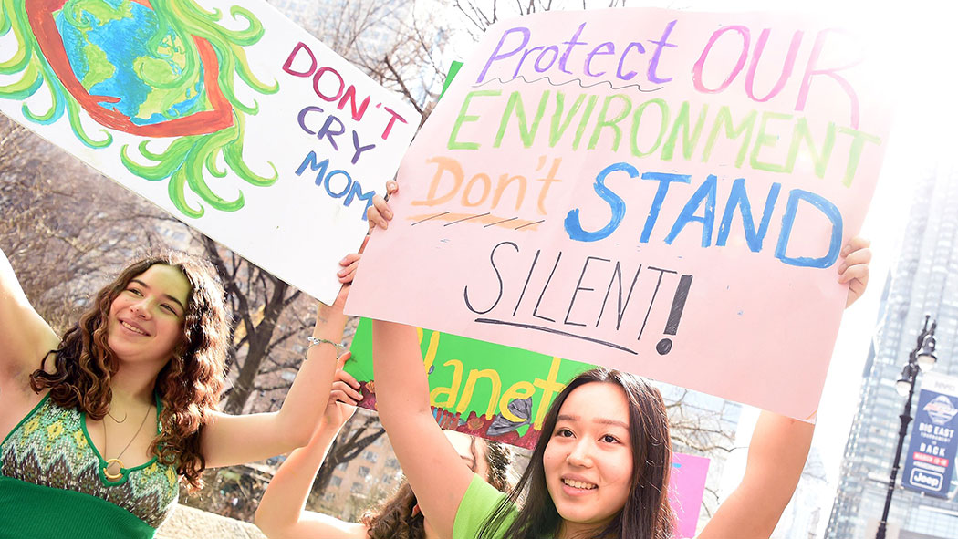 Students protesting during the New York City march for action on climate change in March.