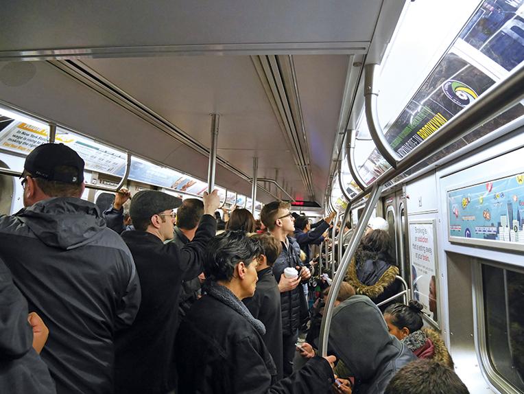 Crowded NYC subway car