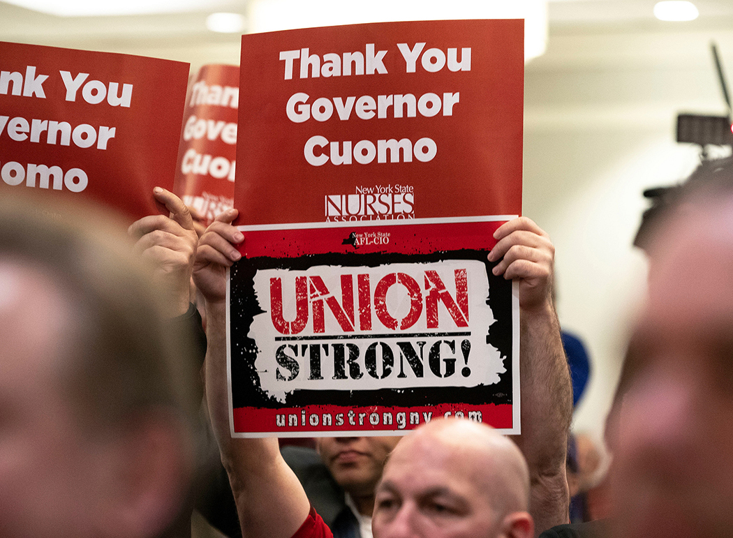 Union supporters during Gov. Andrew Cuomo's remarks at a New York State Nurses Association rally in Albany.