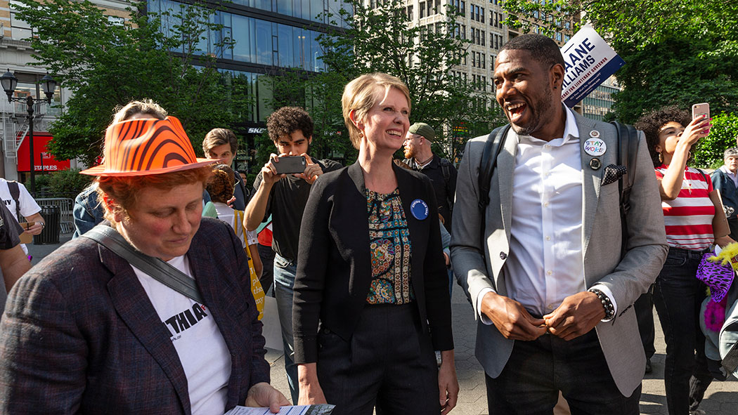 Cynthia Nixon and Jumaane Willims attending a rally to get names on the Democratic Party primary ballot in 2018.