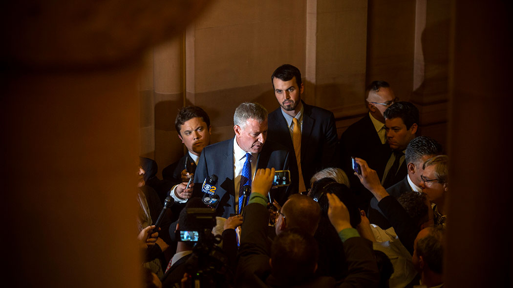 De Blasio visits Albany in 2016 to ask the Legislature to extend mayoral control of New York City schools. State lawmakers only gave him one year, forcing him to make his case again in 2017.