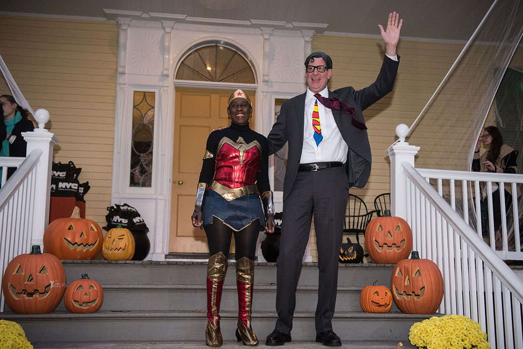 Mayor Bill de Blasio and First Lady Chirlane McCray host Gracie Mansion Halloween dressed at Clark Kent and Wonder Woman on Friday, October 27, 2017.