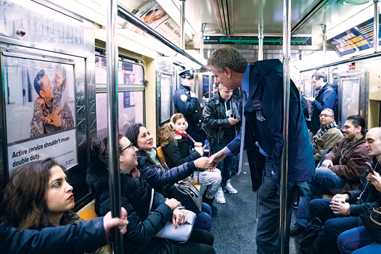 New York City Mayor Bill De Blasio on the 6 train in January
