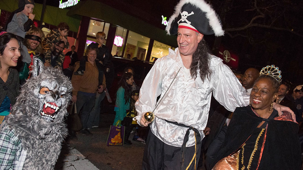 Mayor Bill de Blasio Marches in Park Slope Halloween Parade. 7th Avenue and 14th Street to Washington Park, Brooklyn, NY.
