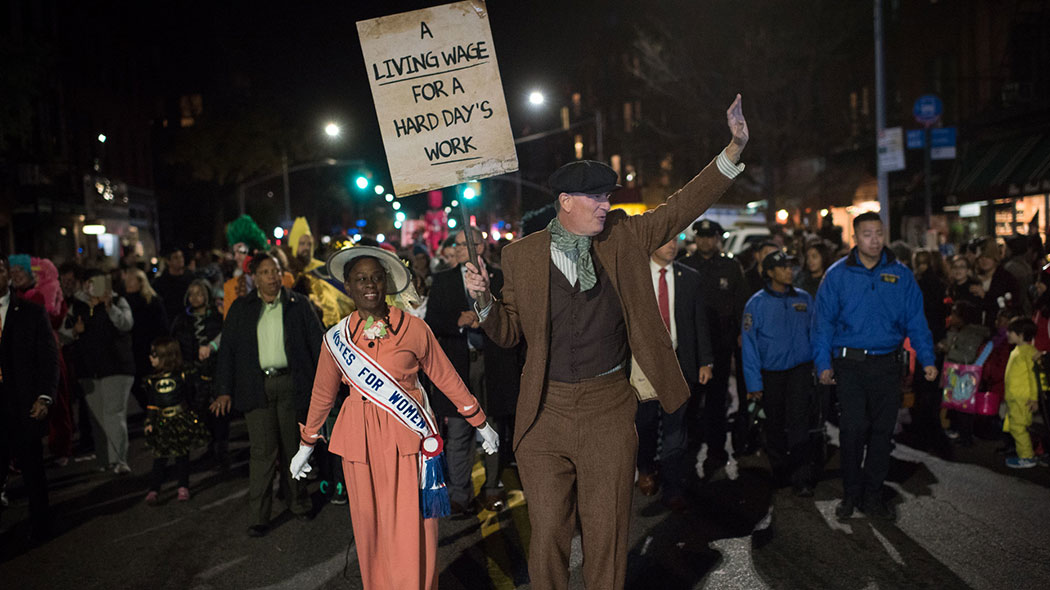 Mayor Bill de Blasio and First Lady Chirlane McCray march in the Park Slope Halloween Parade in Brooklyn on Monday, October 31, 2016.