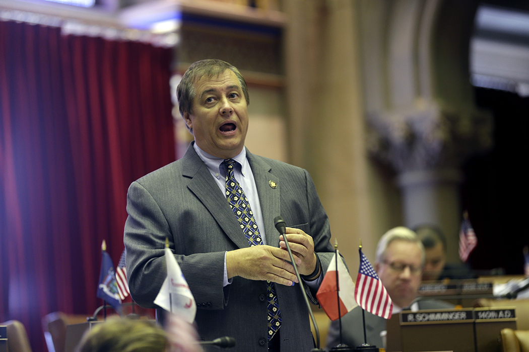 Former Assemblyman Dennis Gabryszak speaks in the Assembly Chamber at the state Capitol in 2013.