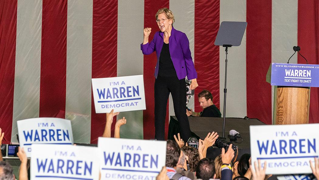 Democratic presidential candidate U.S. Sen. Elizabeth Warren speaks during a rally in Washington Square Park.