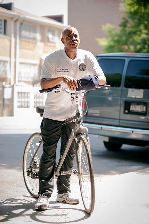 Brooklyn Borough President Eric Adams on a bike