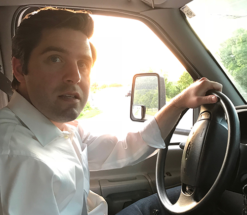 Gareth Rhodes in the drivers seat